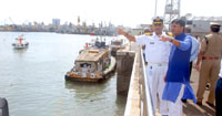 The Minister of State for Road Transport & Highways, Shipping and Chemicals & Fertilizers, Shri Mansukh L. Mandaviya inspected the port facilities from the sea-side at Harbour Wall Berth, OCT, Oil Jetties at Pir pau and Jawahar Dweep, in Mumbai on September 09, 2016.