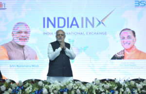 The Prime Minister, Shri Narendra Modi at the inauguration ceremony of the India International Exchange in GIFT City, Gandhinagar, Gujarat on January 09, 2017.